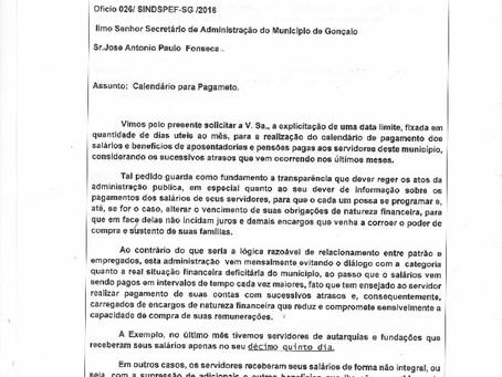Sindspef exige do governo calendário de pagamentos regularizado