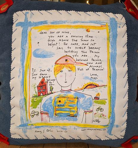 """My Dear Son"" Pillow by Nacy Sway Drew"