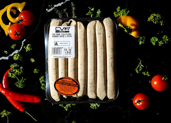Free Range Thin Chicken Sausages Cheese + Chive p/kg