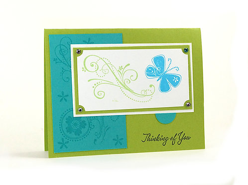 Thinking Of You Green Butterfly Card