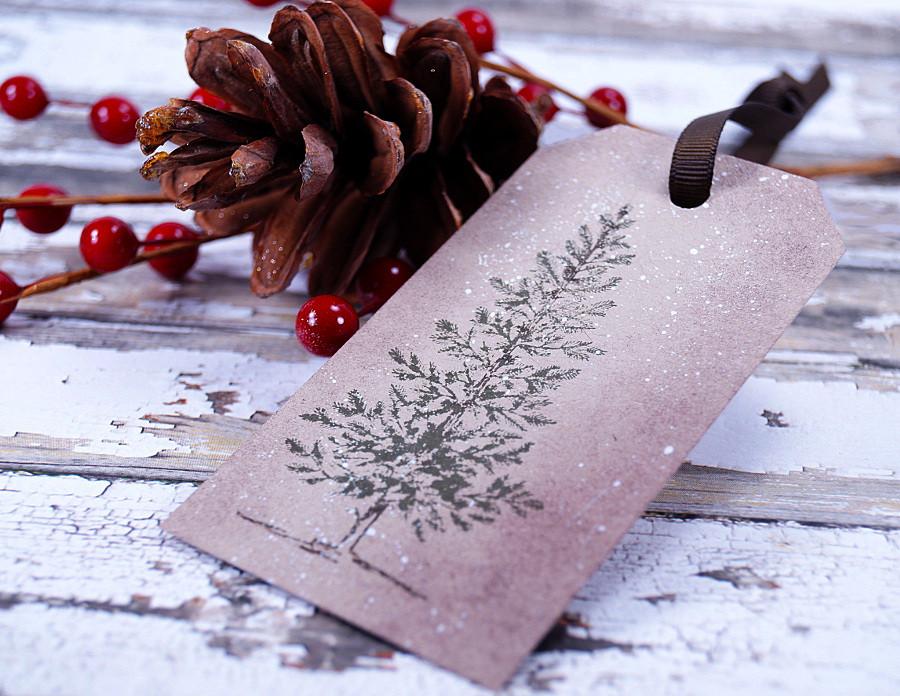 kraft christmas tree tag rustic handmade