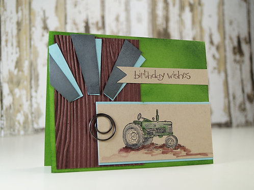Tractor  Birthday Card Green