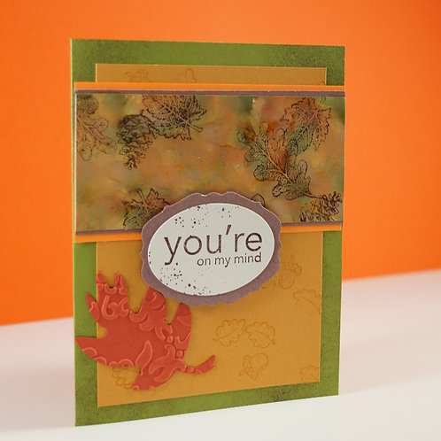 You're On My Mind Marbled Leaves Card