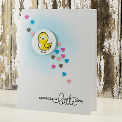 Spreading Love Chick Hearts Handmade Card