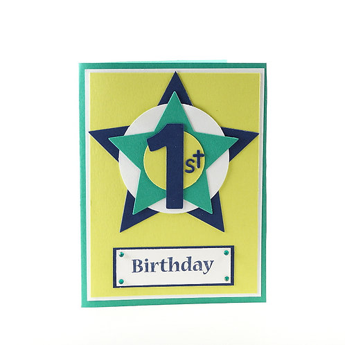 One Year Old First Birthday Star Card