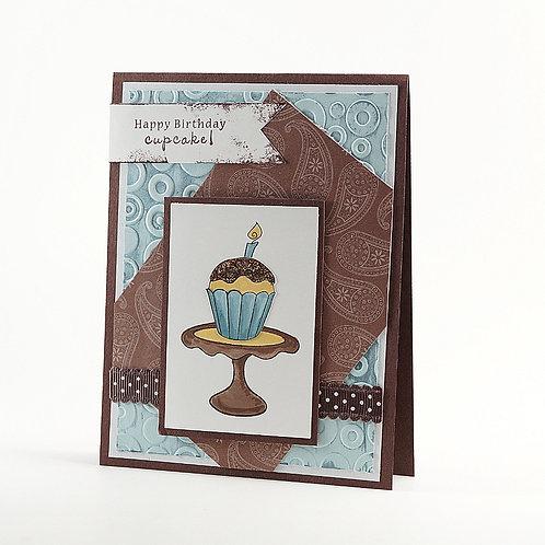 Happy Birthday Cupcake Card Chocolate
