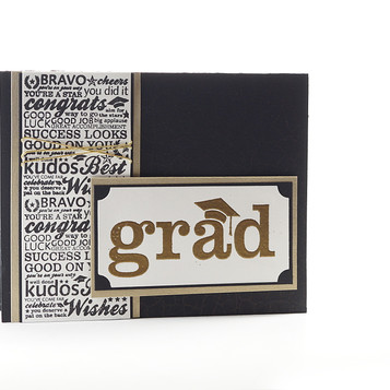 College Graduation Card Black With Gold