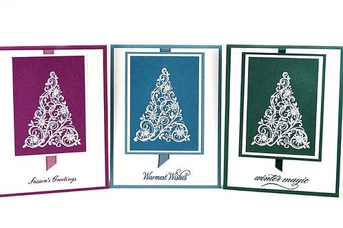 Christmas Embossed Tree Greeting Cards Set Of Three