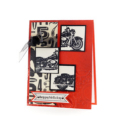 Motorcycle Birthday Card Red & Black