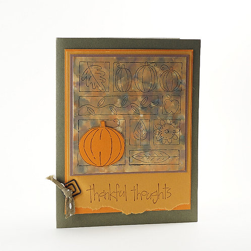 Thankful Thoughts Marbled Pumpkin Card