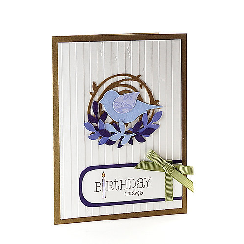 Birthday Wishes Lavendar Bird Card