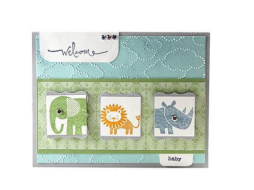 Baby Newborn Card Zoo Babies Card