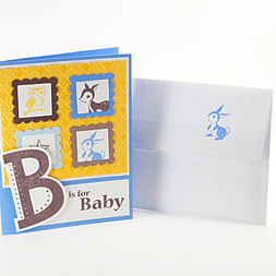 B is For Baby Newborn Woodland Animals Card