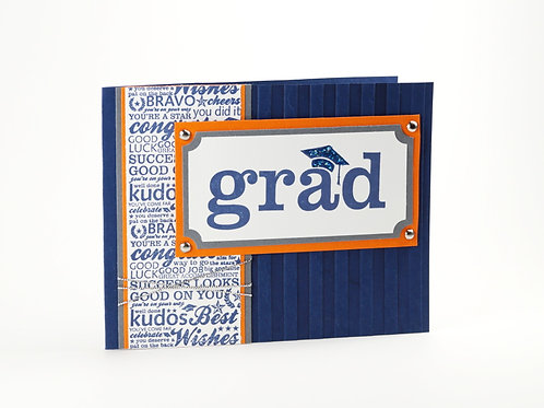 Card For Graduate Congratulations Navy Orange Card