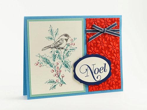 Noel Bird Red Christmas Card