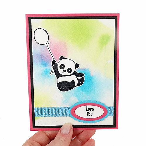 Love You Panda Balloon Homemade Card