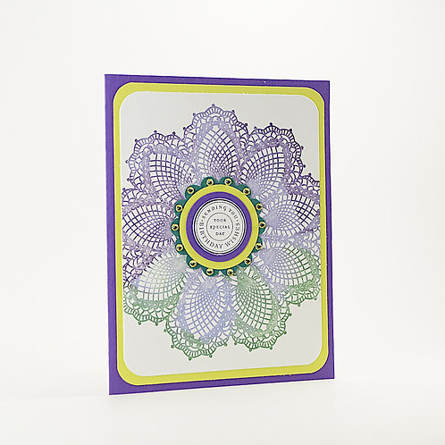 Happy Birthday Doily Card Purple Lime