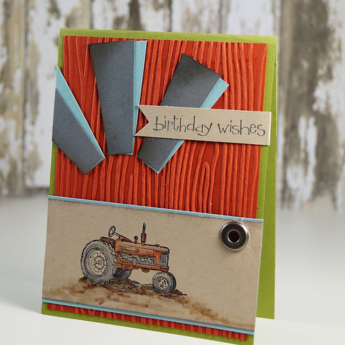 Tractor Birthday Card Red