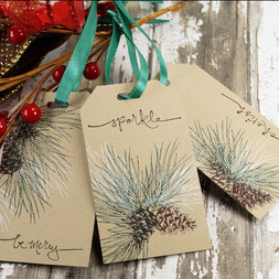 Rustic Pinecone Gift Tags With String