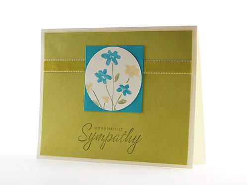 Handmade Floral Sympathy Card Kiwi And Teal