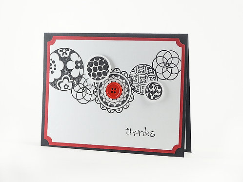 Thank You Red Black Modern Circles Card