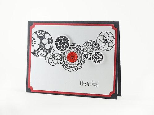 Thank You Red Black Modern Circles Card