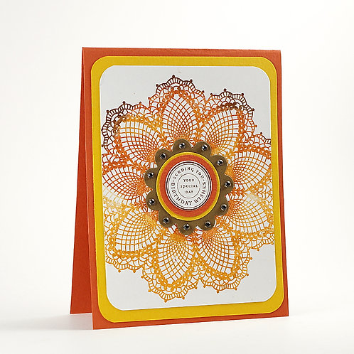 Happy Birthday Doily Card Orange Tones