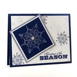 Greetings Of The Season Navy Snowflakes Card