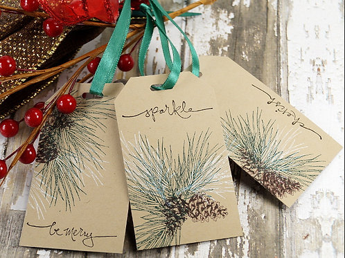 Rustic Pinecone Gift Tags Set of 10