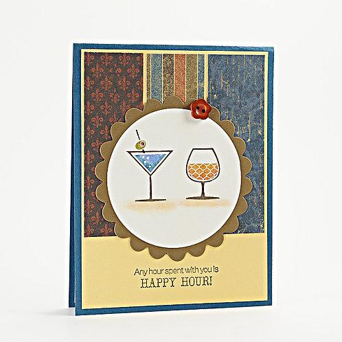 Cocktail Birthday Card Earthy Tone