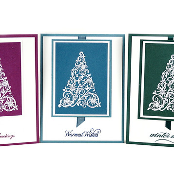 Christmas Embossed Tree Greeting Cards Set Of Three