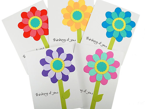 Thinking Of You Bright Flower Card SetOf 5