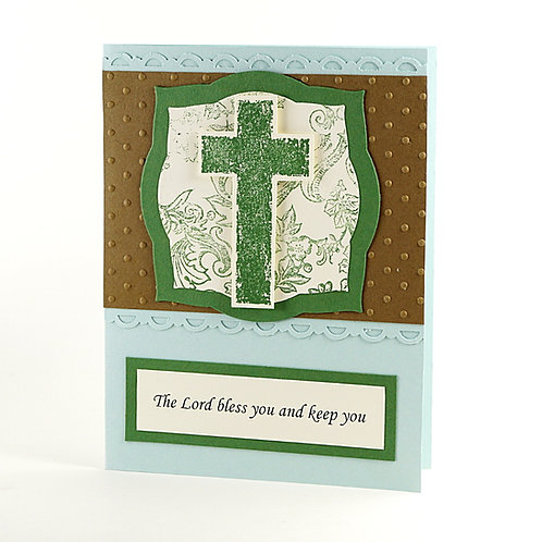 Confirmation The Lord Bless You Cross Card Green