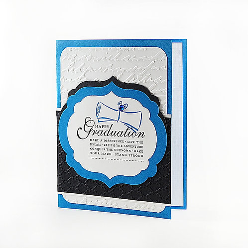 Graduation Congratulations Blue Black White Card