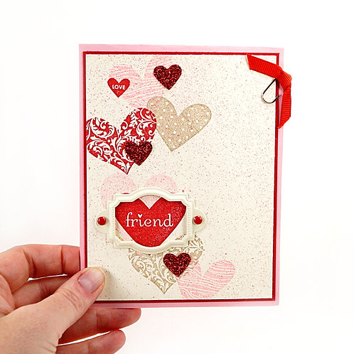 Valentine Love Colored Hearts Greeting Card