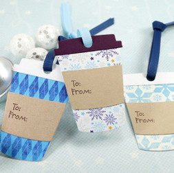 Blue Set Of Winter Coffee Cup Tags