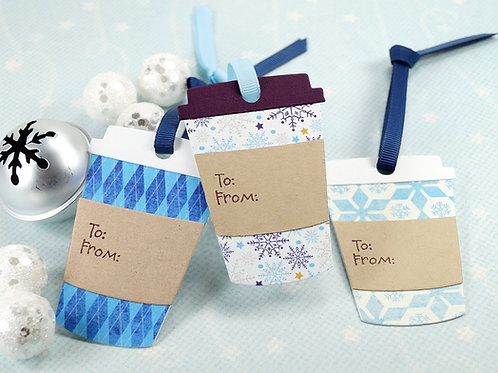 Blue Set Of Winter Coffee Cup Tags Set of 10