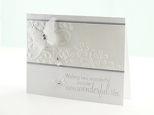 Wedding Congratulations Card White Floral