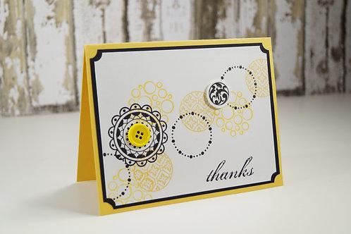 Thank You Card Circles Yellow