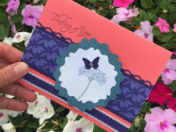 thinking of you coral flower card croppe