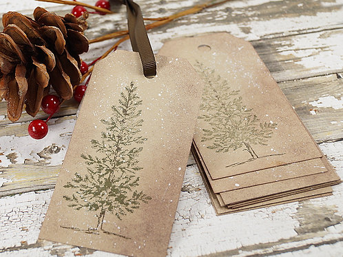 Rustic Christmas Tree Winter Holiday Tags