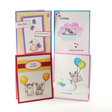 Pig Happy Card Set of 4