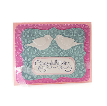 Wedding Congratulations Card Embossed Doves