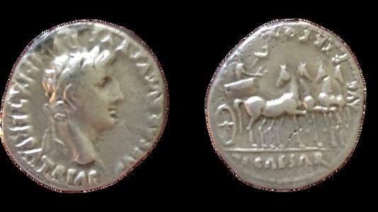 Augustus Denarius 13-14 CE