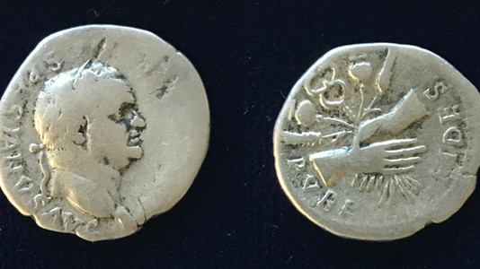 Vespasian AR Denarius 76 CE 'O' Mint