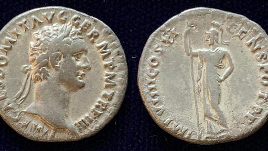 Domitian AR Denarius 85 CE (Fourth Issue)                 RIC 338