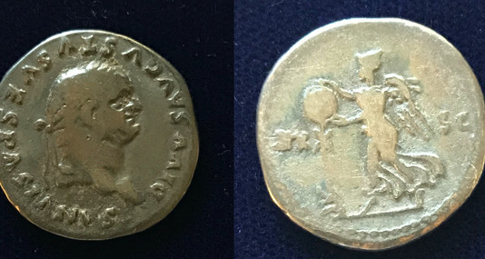 Vespasian AR Denarius struck under Titus as a Posthumous Issue (80-81 CE)