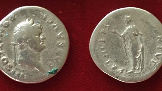Domitian as Caesar AR Denarius    75 CE