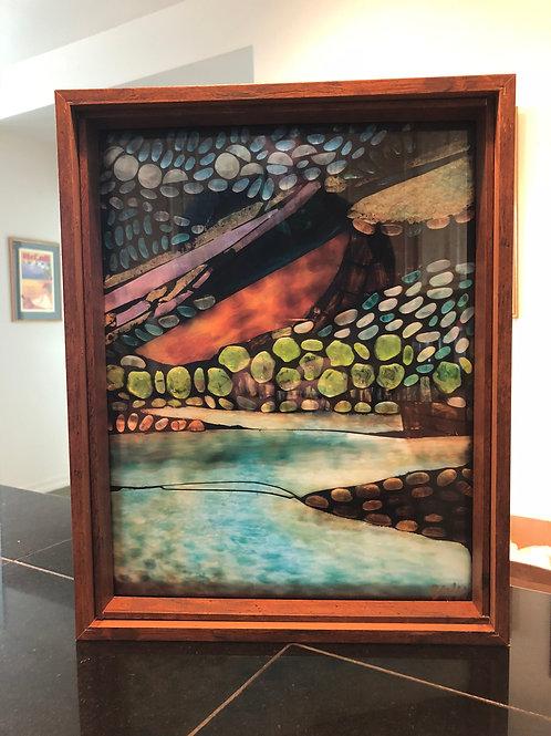 """""""Salmon River"""" print in brown frame"""