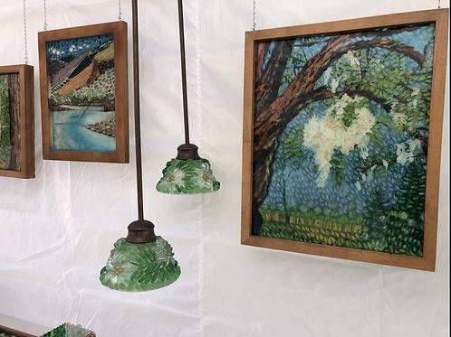 Pair of Syringa mosaic lamps